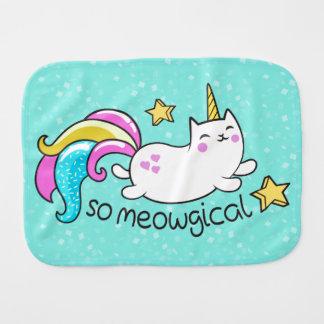 So Meowgical Cute Unicorn kitty glitter sparkles Burp Cloth