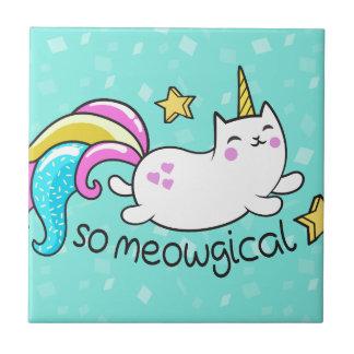 So Meowgical Cute Unicorn kitty glitter sparkles Ceramic Tile