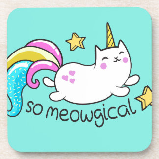 So Meowgical Cute Unicorn kitty glitter sparkles Coaster