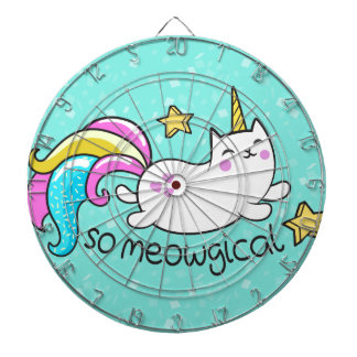 So Meowgical Cute Unicorn kitty glitter sparkles Dartboard