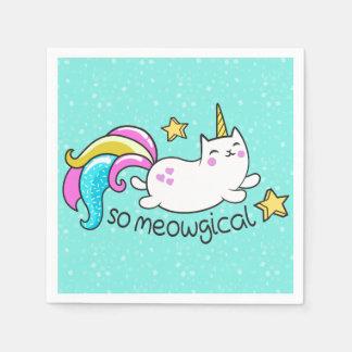 So Meowgical Cute Unicorn kitty glitter sparkles Disposable Serviette