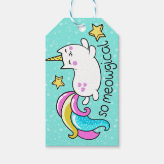 So Meowgical Cute Unicorn kitty glitter sparkles Gift Tags