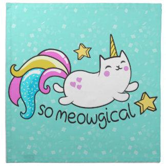 So Meowgical Cute Unicorn kitty glitter sparkles Napkin