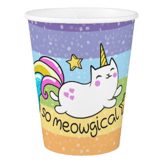 So Meowgical Cute Unicorn kitty glitter sparkles Paper Cup