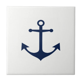 So Nautical - Blue Anchor on White Ceramic Tile