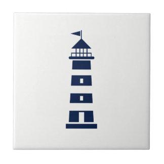 So Nautical -Blue Lighthouse on White Ceramic Tile
