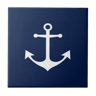 So Nautical - White Anchor on Blue Ceramic Tile