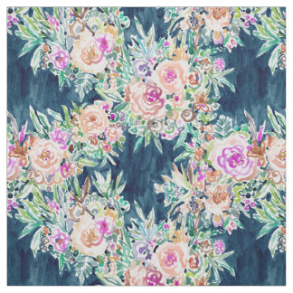 SO RICH Dark Colorful Boho Floral Watercolor Fabric