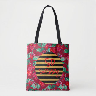 So sassy pattern with gold and dark red tote bag