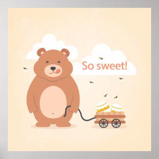 So sweet! Funny bear illustration Poster