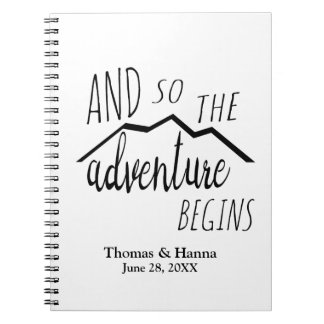 So The Adventure Begins Rustic Mountain Wedding Notebook