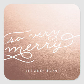 SO VERY MERRY ROSE GOLD Christmas sticker