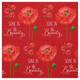 Soak in the Beauty Red Poppies with Red Fabric