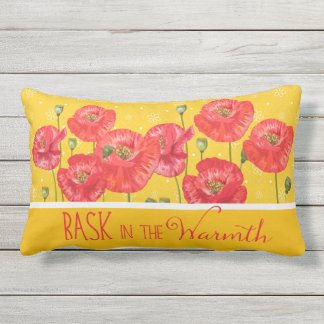 Soak in the Beauty Yellow and Red Poppies Outdoor Cushion