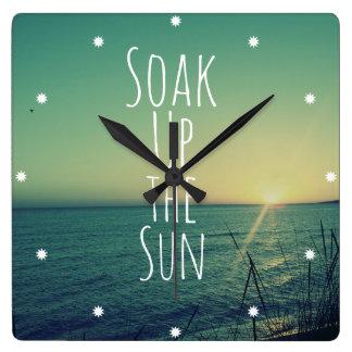 Soak up the Sun Quote Beach Square Wall Clocks
