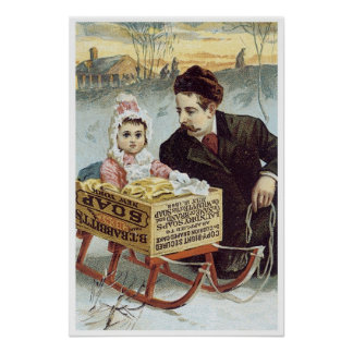 Soap Ad - Child in Sled with Father Poster