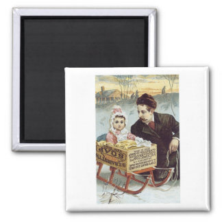 Soap Ad - Child in Sled with Father Square Magnet
