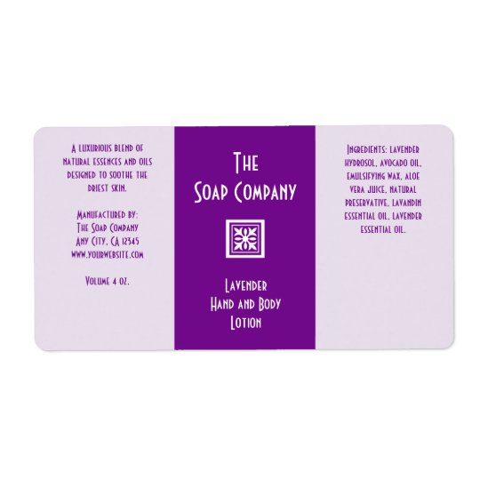 Soap and Bath Products Label - Lavender