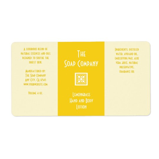 Soap and Bath Products Label - Lemongrass Yellow Shipping Label