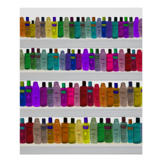 Soap Bottle Rainbow - for bathrooms, salons etc Poster