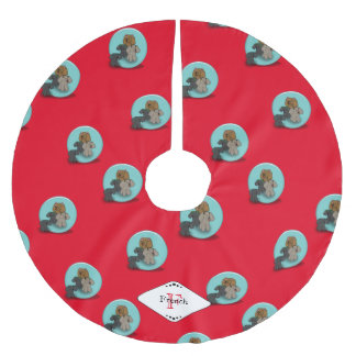 Soap Bubble Poodles Monogrammed Red Tree Skirt Brushed Polyester Tree Skirt