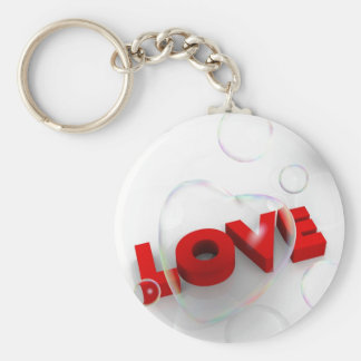 Soap bubble Valentine hearts and love word Basic Round Button Key Ring