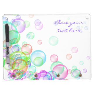 Soap Bubbles Dry Erase Board With Key Ring Holder