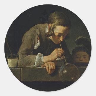 Soap Wind By Chardin Jean-Baptiste Siméon (Best Qu Round Sticker