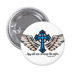 Soar On Wings Blue 3 Cm Round Badge