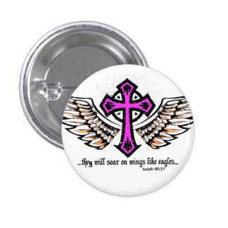 Soar On Wings Pink 3 Cm Round Badge