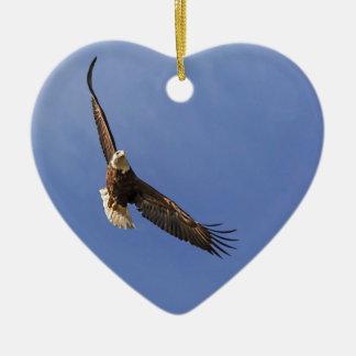 Soaring Bald Eagle Ceramic Ornament