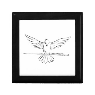 Soaring Dove Clutching Staff Front Drawing Gift Box