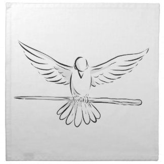 Soaring Dove Clutching Staff Front Drawing Napkin