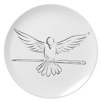 Soaring Dove Clutching Staff Front Drawing Plate