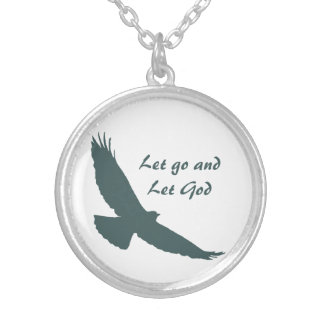 Soaring Hawk Inspiring Quote Let Go Let God Silver Plated Necklace