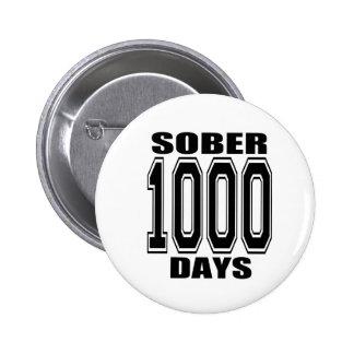 SOBER 1000 DAYS BLACK 6 CM ROUND BADGE