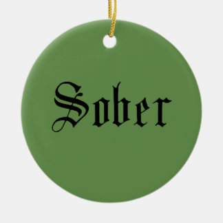 Sober Christmas Ornament, Green Ceramic Ornament