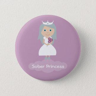 sober-princess-square 6 cm round badge