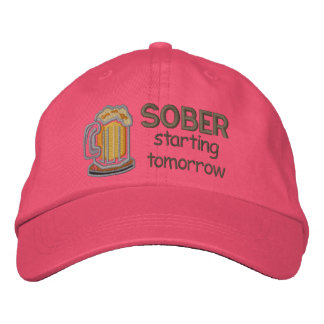 Sober Starting Tomorrow Funny Drinking Embroidered Hat
