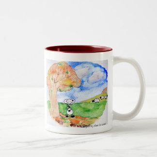Sobs in autumn Two-Tone coffee mug