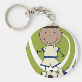 SOCCER - African American Boy TShirts and Gifts Basic Round Button Key Ring