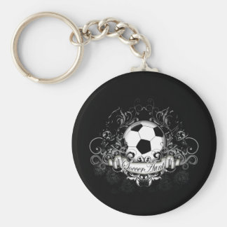 Soccer Aunt Basic Round Button Key Ring