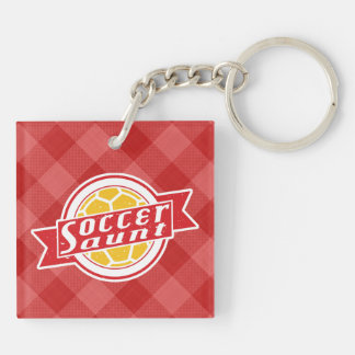 Soccer Aunt Keyring Double-Sided Square Acrylic Key Ring