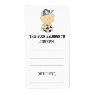 Soccer Baby Shower Bookplate Shipping Label