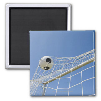 Soccer Ball and Goal 3 Square Magnet