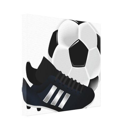 Soccer Ball and Shoe Stretched Canvas Print