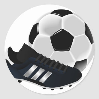 Soccer Ball and Shoe Round Sticker
