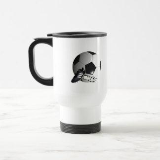 Soccer_Ball,_And_Shoes_White_Travel_Mug Travel Mug