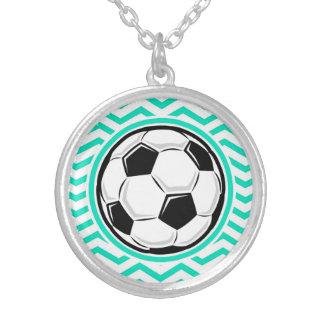 Soccer Ball Aqua Green Chevron Necklaces