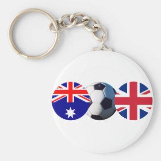 Soccer Ball Australia & UK Flag jGibney The MUSEUM Basic Round Button Key Ring